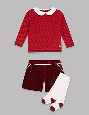 3 Piece Jumper & Shorts Outfit with Tights
