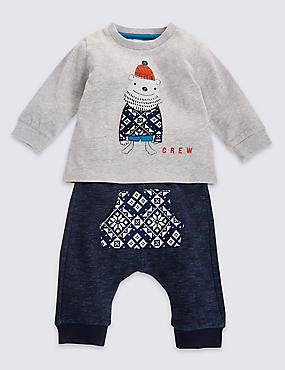2 Piece Pure Cotton Bear Print Outfit
