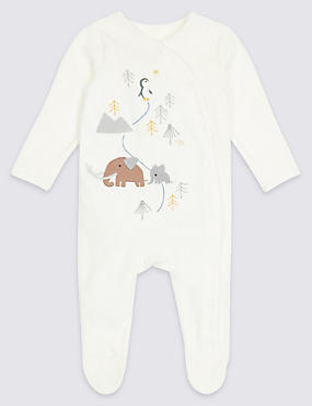 Cotton Rich Penguin Velour Sleepsuit