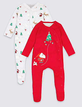 2 Pack Christmas Pure Cotton Sleepsuits
