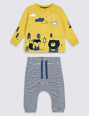 2 Piece Animal Jersey Top & Bottom Outfit