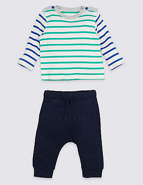 2 Piece Striped Top & Joggers Outfit, BLUE MIX, catlanding