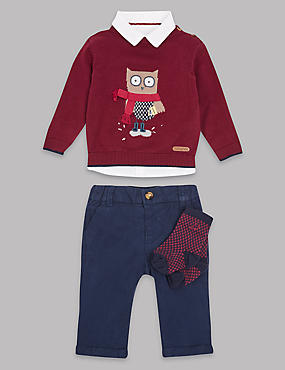4 Piece Jumper, Shirt & Trousers with Socks