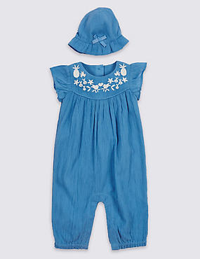 Pure Cotton Embroidered Woven Romper with Hat