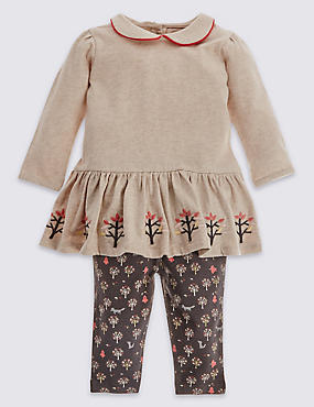 2 Piece Pure Cotton Jersey Top & Leggings Set