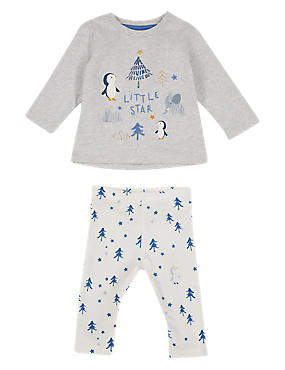2 Piece Penguin Jersey Top & Bottom Outfit