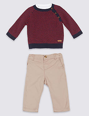 3 Piece Pure Cotton Jumper & Shirt with Trousers