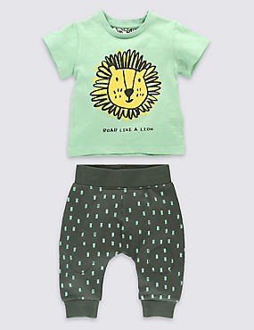 2 Piece Pure Cotton Lion Print T-Shirt & Joggers Outfit