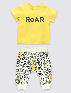 2 Piece Pure Cotton Roar Appliqué Top & Bottoms Outfit