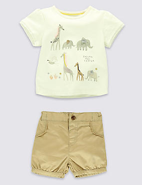 2 Piece Pure Cotton T-Shirt & Shorts Outfit