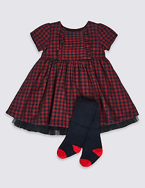 2 Piece Checked Dress & Tights Outfit