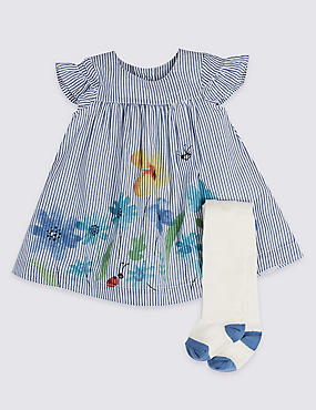 2 Piece Baby Dress with Tights, AZURE, catlanding