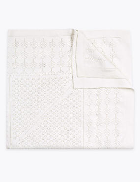 Pointelle Shawl with Cashmere, SOFT WHITE, catlanding