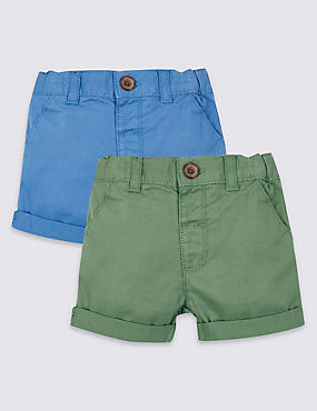2 Pack Pure Cotton Woven Shorts