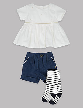 3 Piece Woven Top and Shorts with Tights