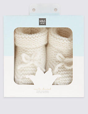 Pure Cashmere Knit Booties (1 - 12 Months)
