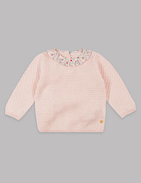 Cotton Rich Frill Collar Knitted Jumper