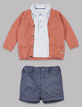 3 Piece Pure Cotton Cardigan & Polo T-Shirt with Shorts Outfit