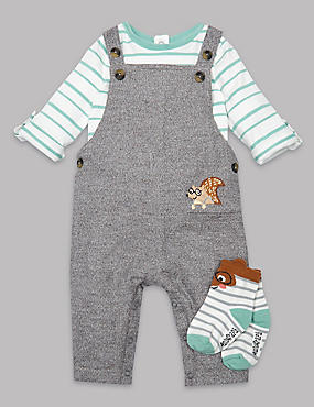 3 Piece Bodysuit & Dungaree with Socks Outfit