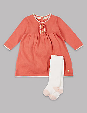 2 Piece Cotton Rich Frill Dress with Tights