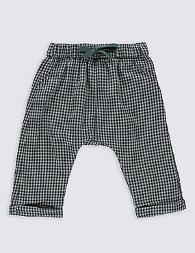 Pure Cotton Checked Trousers