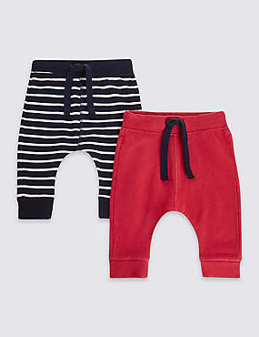 2 Pack Cotton Plain & Striped Joggers with Stretch