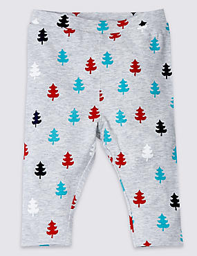 Unisex Cotton Rich Christmas Tree Print Leggings