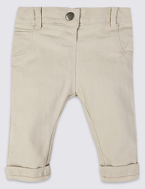 Cotton Twill Trousers with Stretch