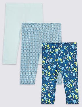 3 Pack Cotton Assorted Baby Leggings with Stretch