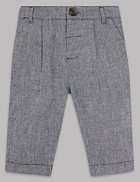 Pure Cotton Textured Trousers