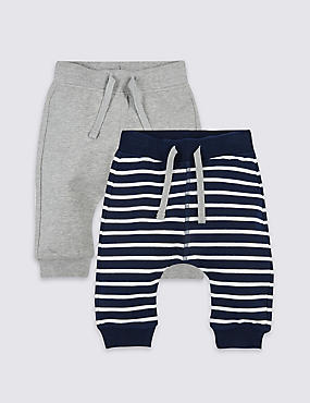 2 Pack Cotton Joggers with Stretch, NAVY MIX, catlanding