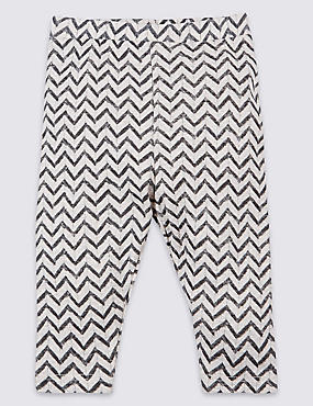 Pure Cotton Zig Zag Print Leggings