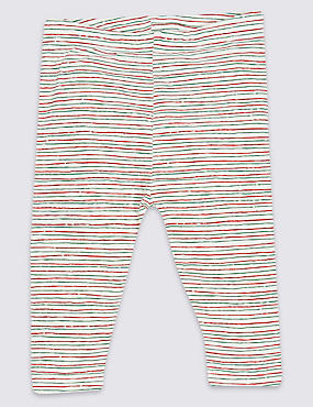 Cotton Striped Leggings with Stretch