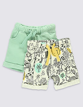 2 Pack Pure Cotton Assorted Shorts