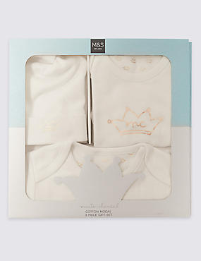 3 Piece Crown Print Set (0 - 12 Months)