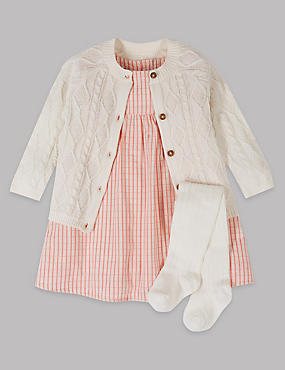 3 Piece Cardigan & Dress with Tights Outfit, MELBA BLUSH, catlanding