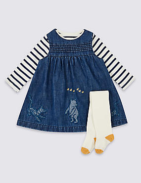 Winnie the Pooh & Friends™ Pinafore & Bodysuit with Tights, DENIM MIX, catlanding