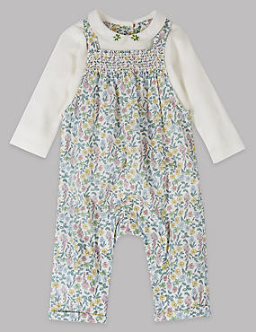 Pure Cotton Floral Print Dungarees, WHITE/GREEN, catlanding