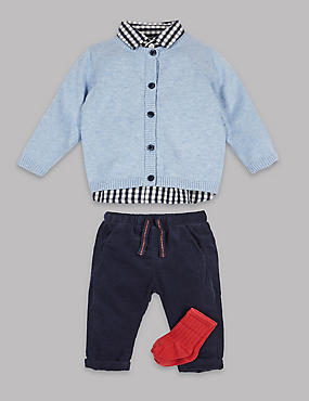 4 Piece Gingham Outfit, NAVY/WHITE, catlanding
