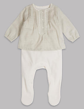 Woven Sleepsuit, WHITE, catlanding
