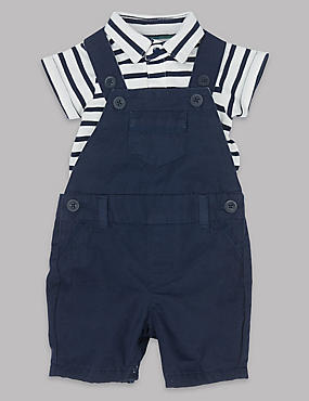 2 Piece Pure Cotton Bib Short & Bodysuit Outfit