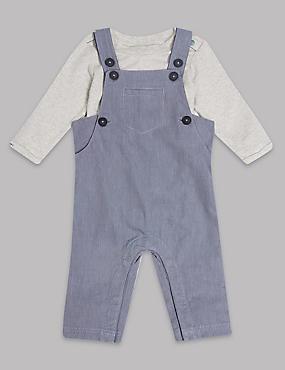 2 Piece Pure Cotton Bodysuit & Dungarees Outfit, BLUEBERRY, catlanding