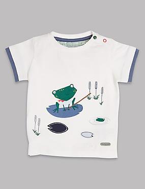 Cotton Blend Frog T-Shirt, WINTER WHITE, catlanding