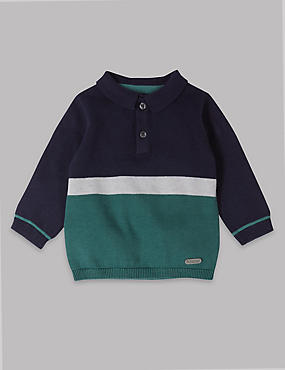 Pure Cotton Knitted Colour Block Polo Shirt
