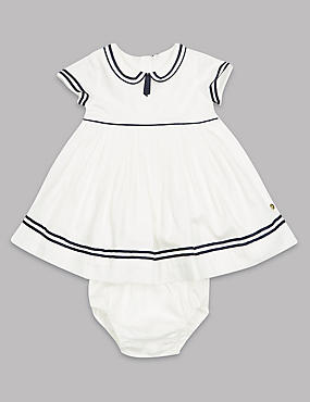 2 Piece Pure Cotton Woven Dress with Nappy