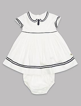 2 Piece Pure Cotton Woven Dress and Knicker, WINTER WHITE, catlanding