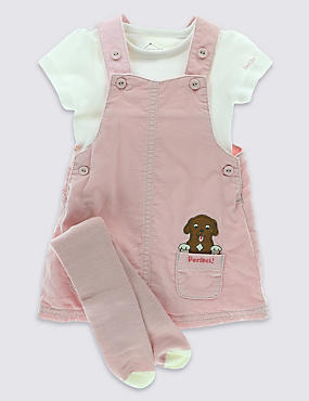 3 Piece Cotton Rich Bodysuit, Dungaree & Tights Outfit
