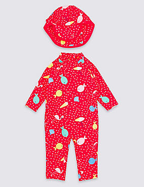 2 Piece Fish Print Frill  Swimsuit with Hat, RED MIX, catlanding
