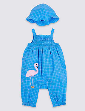 Pure Cotton Woven Flamingo Romper