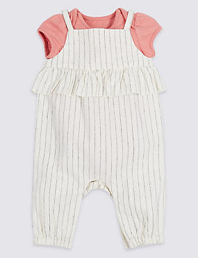 2 Piece Frill Dungarees & Bodysuit Outfit, ECO WHITE, catlanding